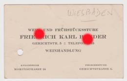 WIESBADEN Vers 1920 / FRIEDRICH KARL BENDER  WEINHANDLUNG - Visitekaartjes