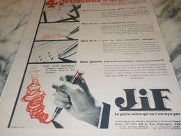 ANCIENNE PUBLICITE STYLOS  4 GROSSEURS JIF 1933 - Autres Collections