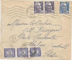 GANDON 15FR BLEU +5FR VIOLETX2 LETTRE GRENOBLE GARE 5.7.1952 POUR POSTE RESTANTE TAXE 5 LIRE X3 1 DEFAUT - 1945-54 Marianne Of Gandon