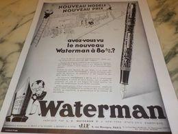 ANCIENNE PUBLICITE NOUVEAU MODELE  WATERMAN  1933 - Autres Collections