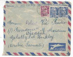 GANDON 15FR BLEUX2+10FR VIOLET LETTRE AVION HERAULT 1951 POUR ARABIE SAOUDITE AU TARIF - 1945-54 Maríanne De Gandon