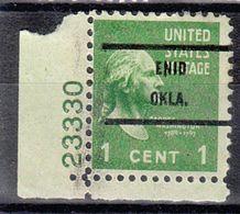 USA Precancel Vorausentwertung Preo, Bureau Oklahoma, Enid 804-71, Plate# - Vereinigte Staaten