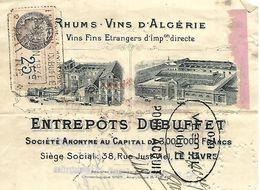 Traite 1935 / Photo Usine / 76 LE HAVRE / Entrepôts DUBUFFET / Vins D'Algérie, Rhums / Timbres Fiscaux - Bills Of Exchange