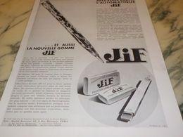 ANCIENNE PUBLICITE NOUVELLE GOMME STYLOS   JIF 1933 - Autres Collections