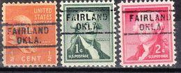 USA Precancel Vorausentwertung Preo, Locals Oklahoma, Fairland 729, 3 Diff. - Vereinigte Staaten