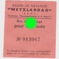 EUPEN Vers 1950  Bassin De Natation WETZLARBAD - Tickets - Vouchers