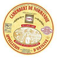 ETIQUETTE De FROMAGE..CAMEMBERT De NORMANDIE..ISIGNY Ste MERE à ISIGNY SUR MER ( Calvados 14)..sélectionné Par CORA - Cheese