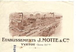 Traite 1927 / Photo Usine / 76 YVETOT / J. MOTTE / Fabrique De Margarine ASTRA ? - Bills Of Exchange