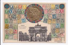 CP GAUFFRE 75 PARIS Arc De Triomphe Representation De Timbres - Monnaies (représentations)