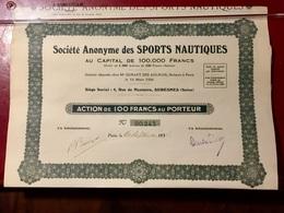 S.A.  Des   SPORTS  NAUTIQUES -------- Action  De  100 Frs - Sports
