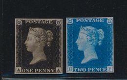 ***REPLICA*** Of 1840 Great Britain, 1p Penny Black, 2p Penny Blue, Sc 1,2 - 1840-1901 (Victoria)