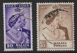 MALAYA - PENANG 1948 SILVER WEDDING SET SG 1/2 FINE USED Cat £38 - Penang