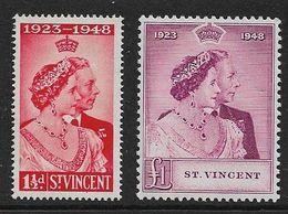 ST VINCENT 1948 SILVER WEDDING SET SG 162/163 LIGHTLY MOUNTED MINT Cat £28+ - St.Vincent (...-1979)