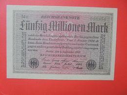 Reichsbanknote 50 MILLIONEN MARK 1923 VARIANTE PAPIER FONCE+6 CHIFFRES CIRCULER (B.16) - [ 3] 1918-1933: Weimarrepubliek