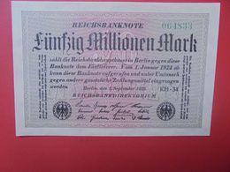 Reichsbanknote 50 MILLIONEN MARK 1923 VARIANTE PAPIER CLAIR SANS (N°)+6 CHIFFRES CIRCULER (B.16) - [ 3] 1918-1933: Weimarrepubliek