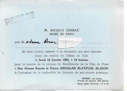 CARTON INVITATION JACQUES CHIRAC MAIRE DE PARIS   PRINCE ABDALLAH AL FAYCAL ARABIE SAOUDITE 1985 - Visitekaartjes