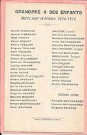 Grandpré à Ses Enfants - Morts Pour La France 1914-1918 (document Rare) - Frankreich
