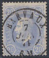 """émission 1869 - N°31 Obl Double Cercle """"Barvaux"""" (1875). Belle Frappe / Collection Spécialisée, Défaut Réparé En Dessous - 1869-1883 Leopold II"""