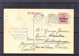 Belgique - Carte Postale De 1917 - Entier Postal - Oblit Bruxelles - Exp Vers Hilterfingen - Réexpédié Vers Genève - - WW I