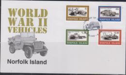 WORLD WARD II - NORFOLK ISLAND - 1995 - MILITARY VEHICLES SET OF 4 ON ILLUSTRATED FDC - WO2