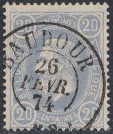 """émission 1869 - N°31 Obl Double Cercle """"Baudour"""" (1874). TB / Collection Spécialisée - 1869-1883 Leopold II"""