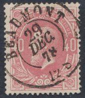 """émission 1869 - N°34 Obl Double Cercle """"Beaumont"""" (1878). Superbe / Collection Spécialisée - 1869-1883 Leopold II."""
