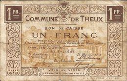 THEUX - Bon De Caisse De 1 Fr - 27 Juillet 1915 - [ 3] Occupations Allemandes De La Belgique