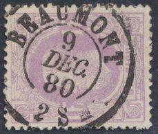 """émission 1869 - N°36 Obl Double Cercle """"Beaumont"""" (1880). Superbe / Collection Spécialisée - 1869-1883 Leopold II."""