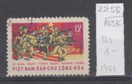 103K2256 / 1961 - Michel Nr. 191 Used ( O ) The 15th Anniversary Of National Resistance , North Vietnam Viet Nam - Vietnam