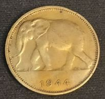 CONGO BELGE - 1 FRANC 1944 - Léopold III - KM 26 - Eléphant - Congo (Belgian) & Ruanda-Urundi