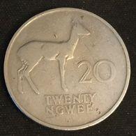 ZAMBIE - ZAMBIA - 20 NGWEE 1968 - KM 13 - Bohor Reedbuck - Antilope - Zambia