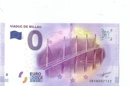 2016 BILLET TOURISTIQUE 0 Euro Viaduv De Millau Dpt 12  Port 1.50  Numero Aleatoire - EURO