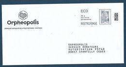 """Postréponse éco Marianne D'Yseult """"Orphéopolis"""" 60647 Chantilly, Au Dos 183372 - Pas De N° Intérieur - 2018-... Marianne L'Engagée"""