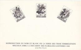 BELGIQUE 2 REPRODUCTION EN NOIR ET BLANC (FLORALIESGANTOISES 1980 + MONUMENTS DE LA VILLE DE GAND) - Black-and-white Panes