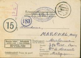 Belgique 1944 - Lettre Vers Belgique De L'Allemagne. Guerre 1940-45. Cachet De Contrôle Nº 15 Et 183......  (VG) DC-7584 - Oorlog 40-45