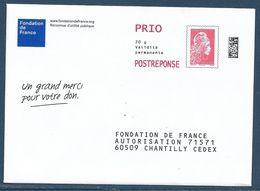 """Postréponse Marianne D'Yseult """"Fondation De France"""" 60509 Chantilly, Dos 182202, N° Intérieur 23182011SSM - 2018-... Marianne L'Engagée"""