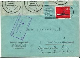 Bund Mi 478 EF Amtliche Post Verschlußmarke Bf Frankfurt Main Niederrad 1965 - BRD