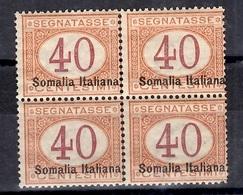 Somalie Italienne Timbre Taxe YT N° 16 Type II En Bloc De 4 Neufs ** MNH. TB. A Saisir! - Somalie