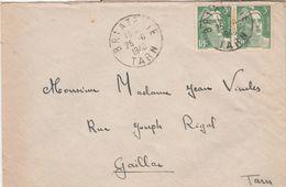 Yvert 716 X 2 Paire Gandon Lettre Cachet BRIATEXTE Tarn 25/6/1948 Pour Gaillac - Marcophilie (Lettres)