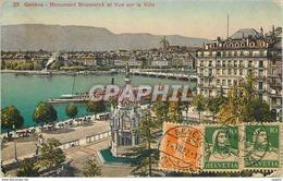 CPA Geneve Monument Brunswick Et Vue Sur La Ville Bateau - GE Genève