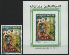 Zentralafrikanische Rep. 1995 - Mi-Nr. 1683 A & Bl A 576 A ** - MNH - Volleyball - Centrafricaine (République)