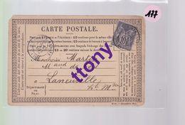 4  Cartes Dite Postale Avec Timbre Type Sage 15 C Et 10 C  Destination Haute-Marne  Aube Laneuville - 1876-1898 Sage (Tipo II)