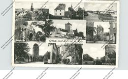4047 DORMAGEN - ZONS, Rheinpartie - Schiffsanleger, Juddenturm, Rheinturm, Rheinstrasse LKW..., 1956, Kl. Druckstelle - Dormagen