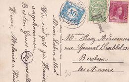 Belgique - TX30 Sur Carte Postale Du Luxembourg à Berchem - 1921 - Impuestos