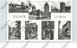 4047 DORMAGEN - ZONS, Rheinstrasse, Krötschenturm, Altes Schloßtor..., 1952 - Dormagen