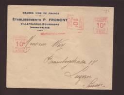 3 Lettres  Avec 3x 10c - 3x 25c -  3x 50c  Obl 1925/1927 -> Lucerne -2x Crédit Suisse 1x Vins Fromont - EMA ( Maquina De Huellas A Franquear)