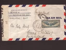 Lettre Par Avion Obl. Heights 16.04.1942 -> Sierre - Zensur/censored/censure OBE  913 I.C = Bermudes - Verenigde Staten