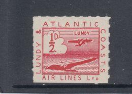 #10 Great Britain Lundy Island Puffin Stamp 1939 Sm Airmail Red Cat #19 Broken 2 - Emissione Locali