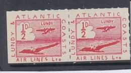 #24 Great Britain Lundy Island Stamp 1939 Sm Air Red Cat #19(fb) Coloured Spot - Emissione Locali
