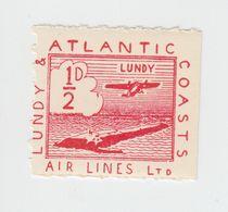 #25a Great Britain Lundy Island Puffin Stamp 1939 Small Air Red #19 Cloud In Sea - Emissione Locali
